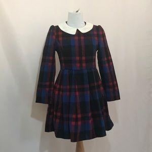 Peter Pan collar wool plaid vintage dress